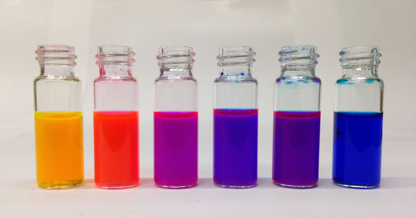 Rhodamine dyes synthesized in the Lavis Lab, at HHMI.