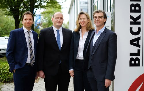 Management of Blackbird Robotersysteme - from left to right: Dr. Wolfgang Vogl, Chief Excecutive Officer (CEO) Dr. Ulrich Munzert, Chief Technical Officer (CTO) Christel Rummel, Chief Financial Officer (CFO) Karl Christian Messer, Chief Executive Officer (CEO). Courtesy of Blackbird Robotersysteme.