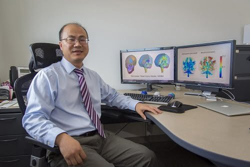 Songbai Ji, associate professor of biomedical engineering at Worcester Polytechnic Institute, is researching how injuries affect functionally important neural pathways and specific areas of the brain. Courtesy of Worcester Polytechnic Institute.