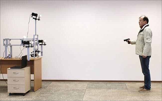 The TeraSense body scanner system operates in reflection mode at a distance up to 3 m away from the target (human body).