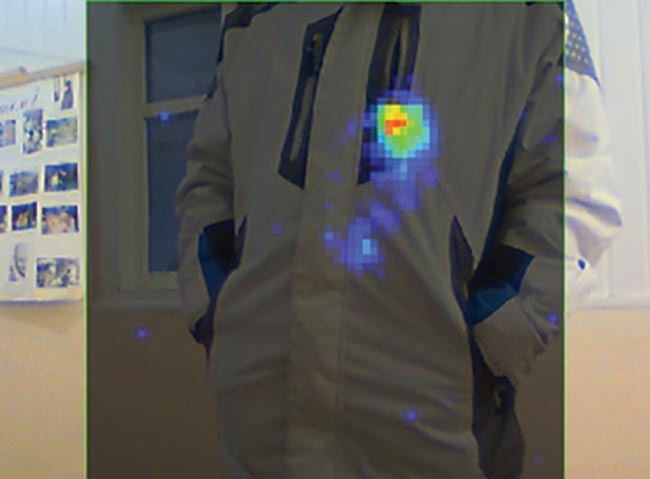 One of the main advantages of a terahertz body-scanning system is the possibility of distant detection of hidden objects.