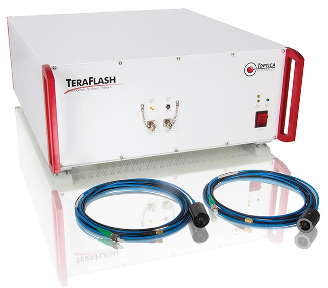 Toptica's TeraFlash time-domain terahertz platform incorporates photoconductive antennas to translate the pulse train of a femtosecond laser into broadband terahertz radiation.