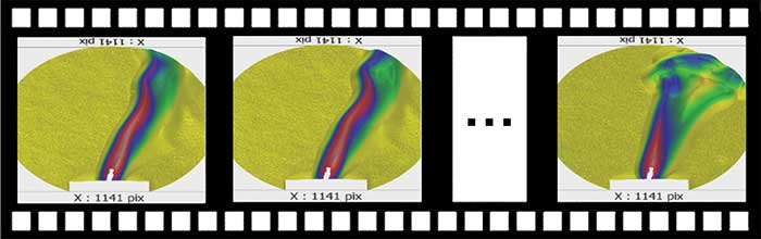 Playback of a 3D movie capturing the phase disturbance of a candle placed inside an interfering cavity.