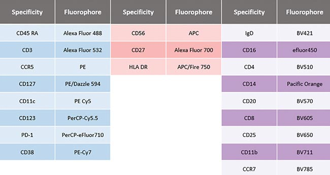 A 20-color combination immunophenotyping assay.