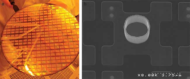 A 200-mm wafer with CMOS active matrices for GaN 873 × 500-pixel microdisplay at 10-µm pitch