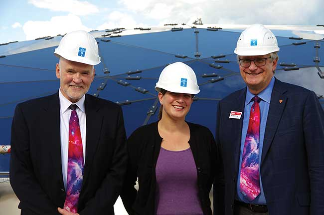 Eugene Arthurs, with Tania Johnston, ESO Supernova Coordinator, and Jim Oschmann of Ball Aerospace