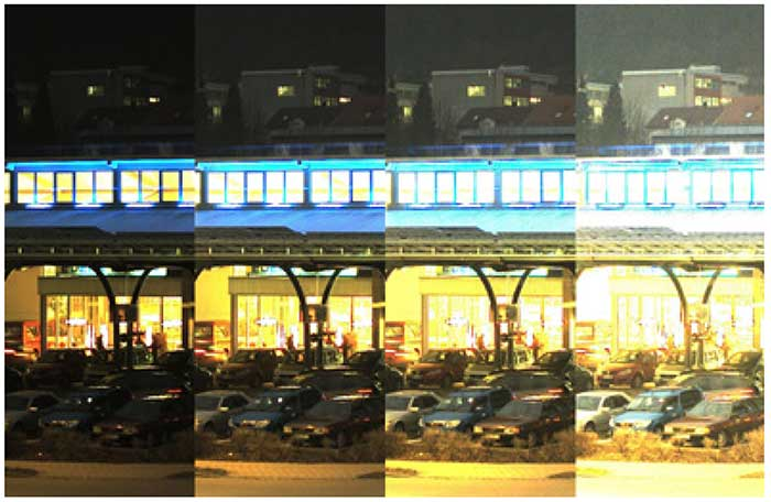 Four extracts of the same night image.