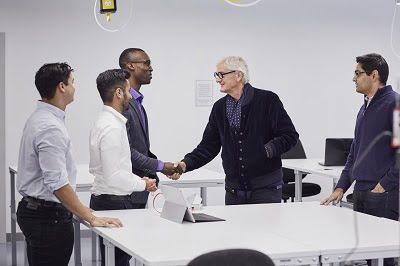Members of the sKan team meet James Dyson during a visit to the company's UK Headquarters.