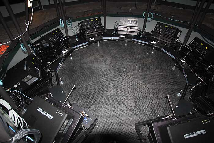Nine projectors installed 32 in. above the floor create a 360-degree image, used in virtual reality simulations for military and other training.