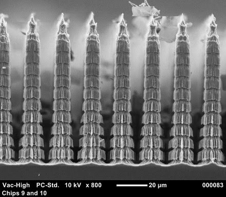 These images taken with a scanning electron microscope show details of a new absorber that is enabling observations by the High-Resolution Airborne Wideband Camera-plus.