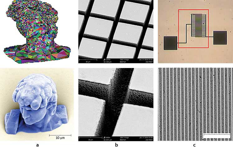 Microfabrication using the Laser µFab: STL file and 3D microstructure produced using TPP (10-µm scale) (a); 2D patterns on a polymer produced using laser ablation (5-µm channels) (b); laser-assisted silver deposition on glass (3.5-µm line widths) (c).