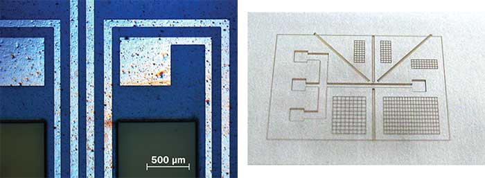 Cutting and structuring of polymers (sensors and microfluidic devices) using a high-power, ultrafast industrial laser.