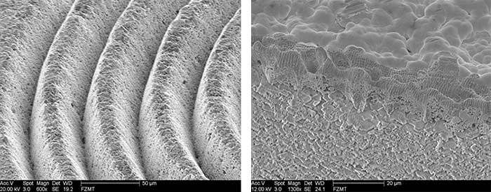 Surface structuring of AlO2 ceramics using a femtosecond laser. Right image with gold coating on the surface.