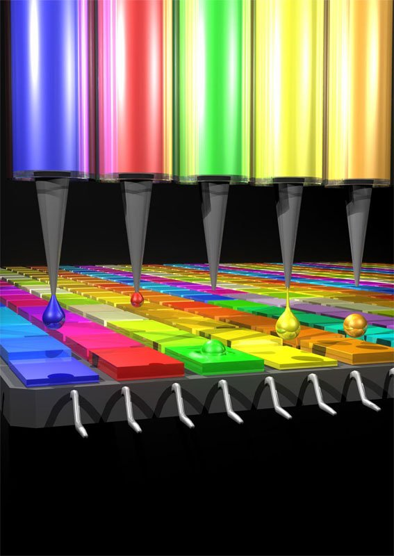 A device prints the quantum dot filters that absorb different wavelengths of light depending on their size and composition. NASA Goddard and MIT.