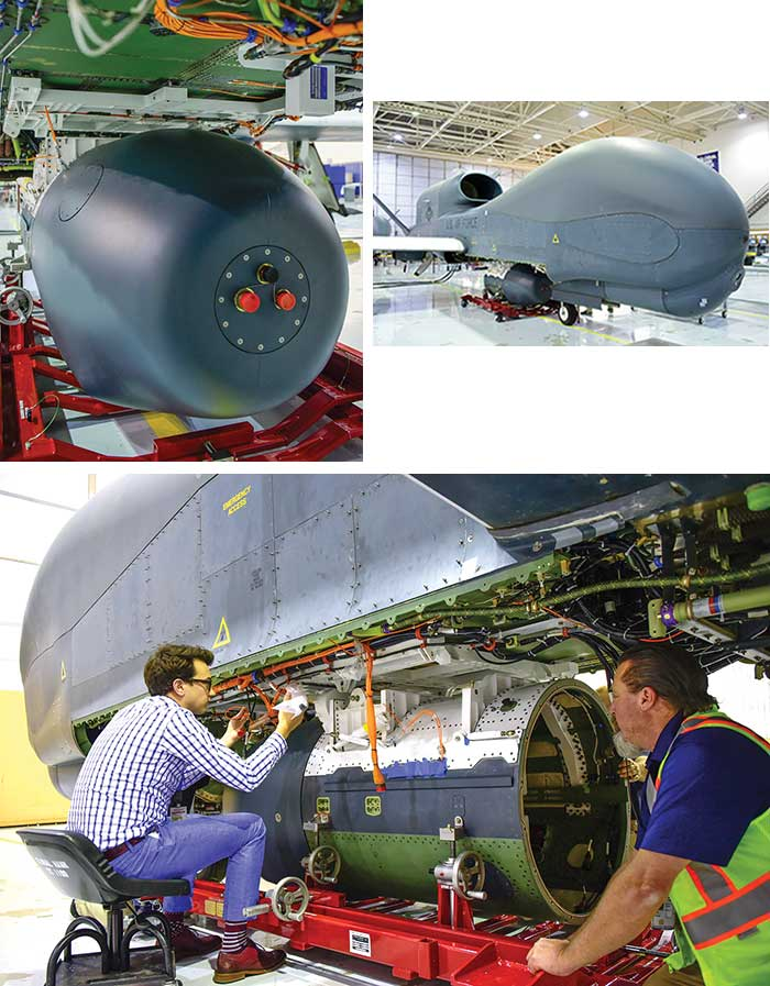 Scenes from the recent sensor installation of the Global Hawk.