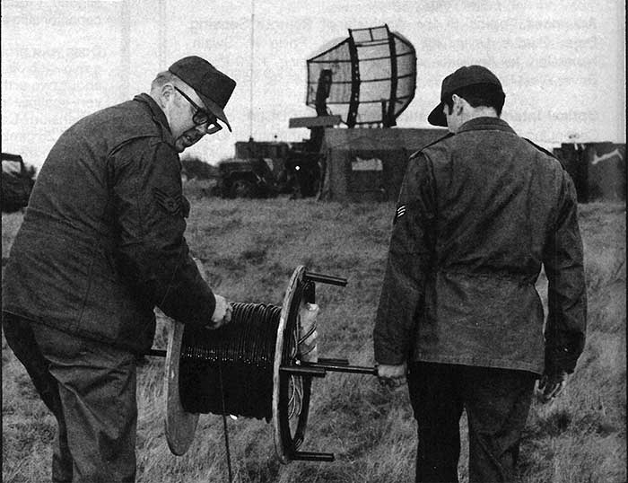Personnel at Sembach Air Base in West Germany are shown here dropping a kilometer-long optical fiber cable that was used to connect a control center at the base with a remote radar installation.