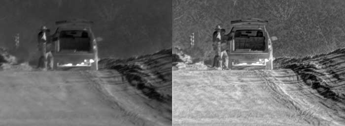 Technology can sharpen a live or recorded image (left) by removing turbulence from pixels (right), allowing the military to detect, recognize and identify people and objects at greater distances.