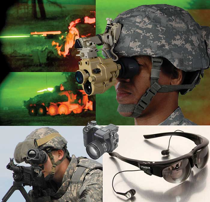 Microdisplays, which use a chip near the eye to create the virtual image of a much larger screen farther away, are used in military applications to fuse sensors and make the invisible visible.