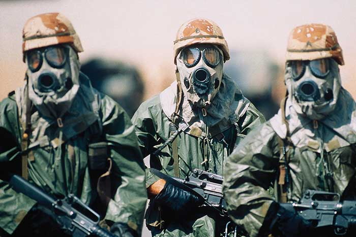 Mid-infrared diode lasers enable early warning systems against chemical warfare agents.
