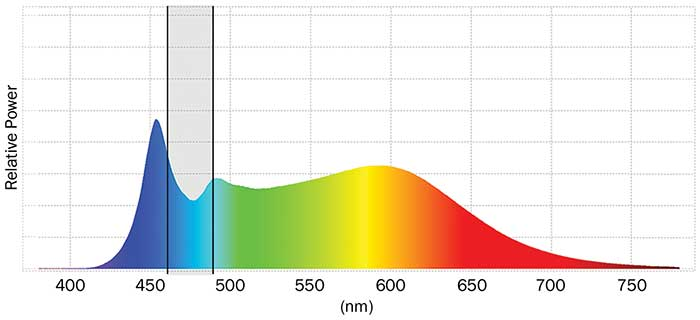 White LED Spectrum 1: A CCT of 5000 K that has increased energy between 460 and 490 nm