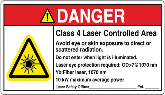 Sample ANSI Z535.2 Compliant Class 4 Laser Controlled Area Danger Sign Format, from ANSI Z136.1-2014 American National Standard for Safe Use of Lasers.