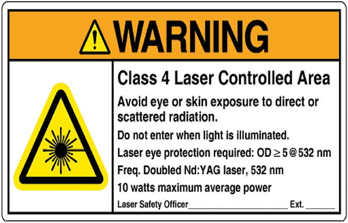 Sample ANSI Z535.2 Compliant Warning Sign for Class 3B and Class 4 Laser Controlled Areas, from ANSI Z136.1-2014