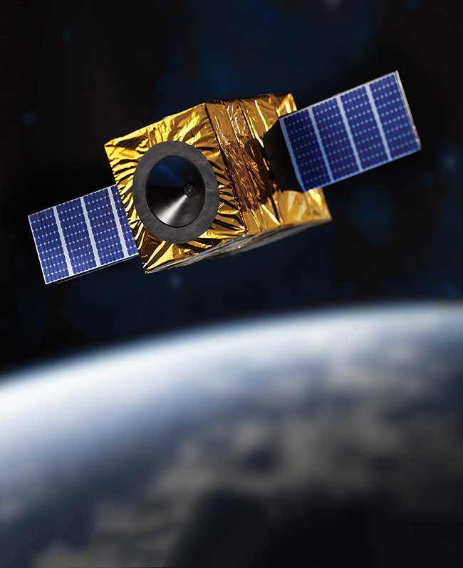 A CubeSat where a hybrid sun sensor is integrated.