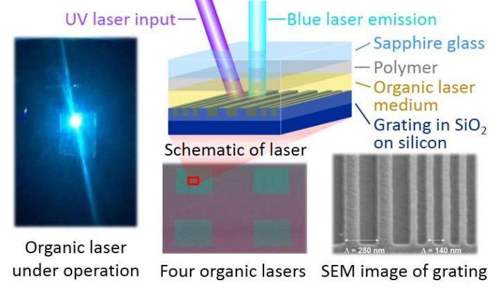 Blue organic thin film laser, Kyushu University OPERA.