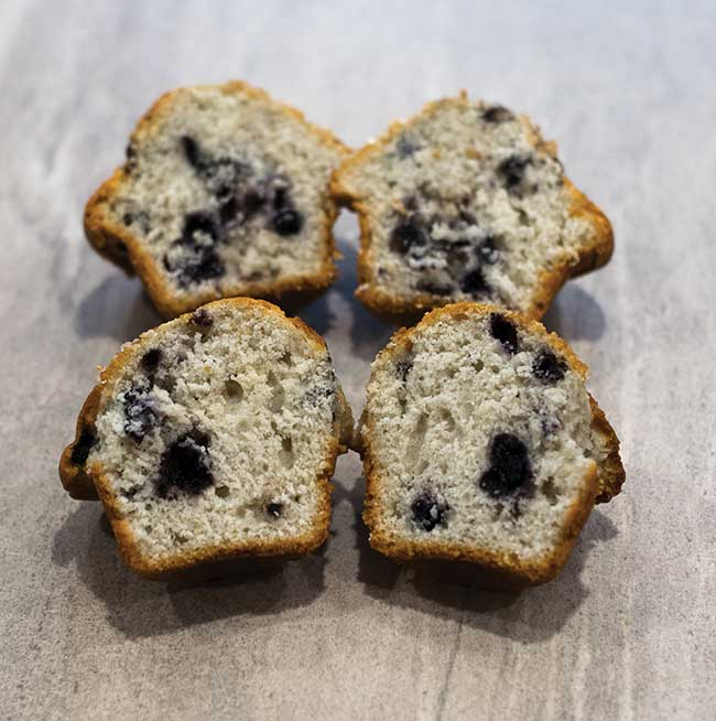 Cross sections of two store-bought blueberry muffins, showing their variability and internal heterogeneity.