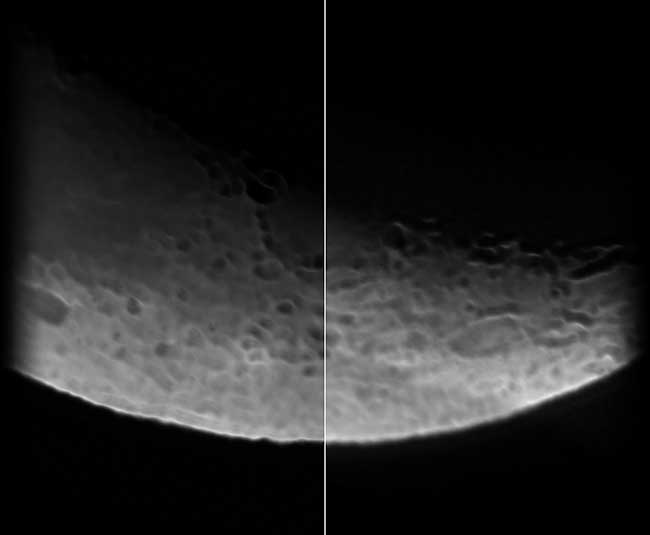 A side-by-side comparison of moon images obtained by a standard Schmidt-Cassegrain telescope