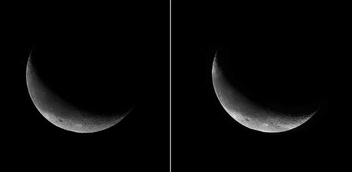 Moon images captured near-simultaneously