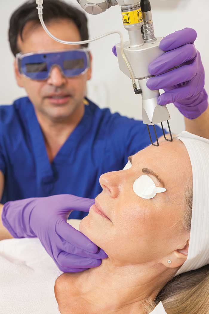 A CO2 laser (shown here) is effective in treating skin cancers and can also be used for aesthetic procedures such as skin rejuvenation, wrinkle removal and elimination of scars.