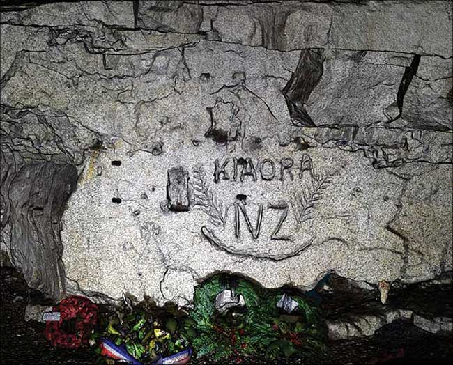 'Kia Ora' ('Hello' in Ma¯ori) surrounded by New Zealand silver ferns engraved in the chalk in the Blenheim quarry by the men of the New Zealand Engineers Tunnelling Company and captured by the LiDARRAS survey.