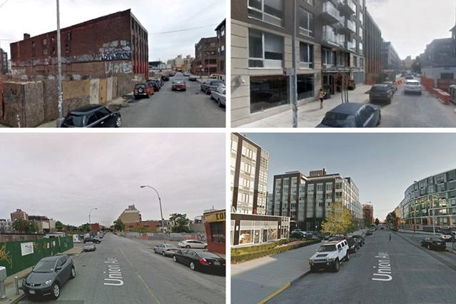 By comparing 1.6 million pairs of photos taken seven years apart, researchers have now used a new computer vision system to quantify the physical improvement or deterioration of neighborhoods in five American cities, in an attempt to identify factors that predict urban change. Pictured are two street views, with the old photograph on the left and the new photograph on the right.