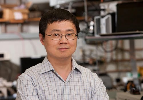 Pitt's Dr. Kevin Chen in his lab where he is developing new sensor technology that can tolerate the harsh environment of a nuclear reactor while providing more data to improve safety.