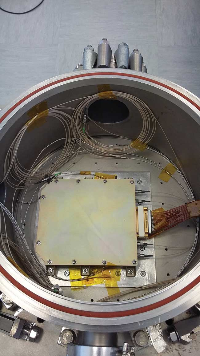 This optical amplifier unit for low Earth orbit-to-ground direct downlinks is ready for temperature cycling in vacuum.
