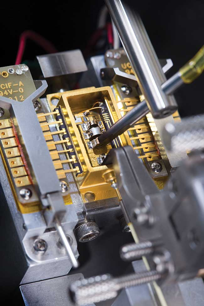 High-power distributed feedback laser used during assembly as the light source within laser communication terminals.