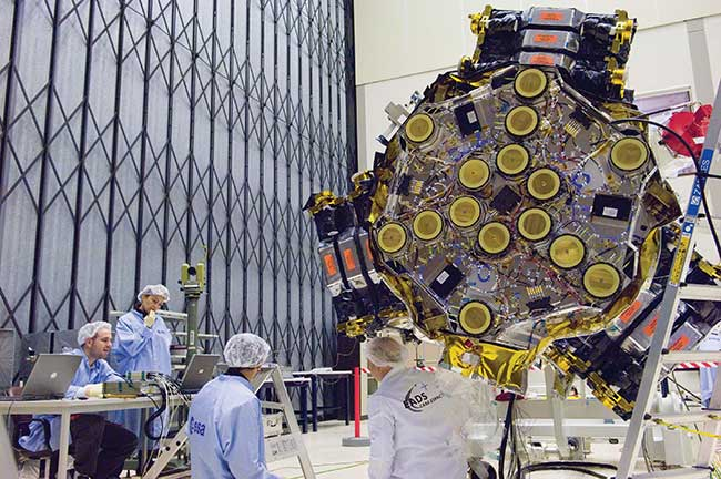 The European Space Agency's Soil Moisture and Ocean Salinity (SMOS) satellite MIRAS instrument shown during testing in 2007.