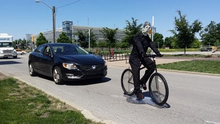 IUPUI's Transportation Active Safety Institute, or TASI, has worked with Toyota's Collaborative Safety Research Center on advanced test targets for bicyclist pre-collision systems. Its next project will explore driving features called 'road-departure detection and control.'
