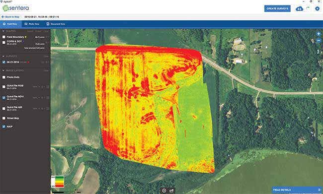 Sentera AgVault software interface uses its QuickTile software to use georeference data to compile composite images within minutes on site to allow immediate viewing of the entire areas.