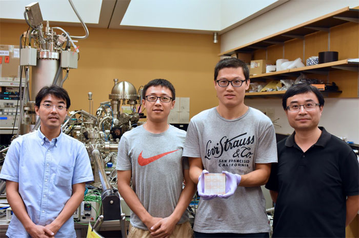 From left to right: Dr. Luis Ono, Dr. Yan Jiang, Dr. Linquiang Meng and Prof. Yabing Qi, who are researching improvements in perovskite solar cells and perovskite LEDs. Courtesy of OIST.
