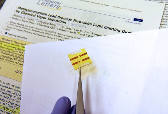 A sample of a functioning Perovskite based LED light. Courtesy of OIST