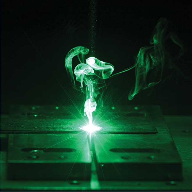 A green disk laser spot welding.