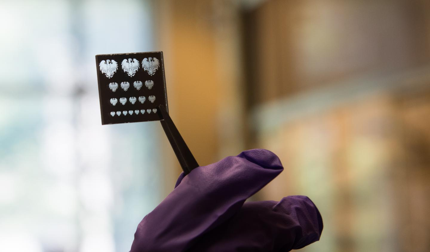 A 'mask' or stencil used to pattern nano materials with a new process that promises to make them far easier to make into LEDs, solar cells, transistors and other electronics.
