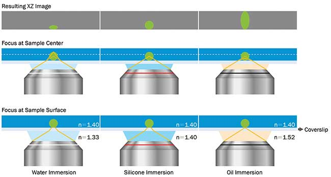Effects of refractive index mismatch on sample shape.