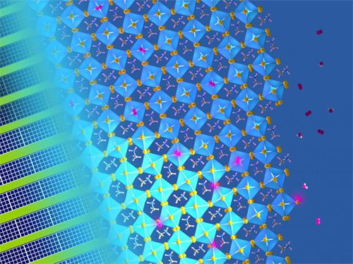 The concoction of light with water and oxygen molecules leads to substantial defect-healing in metal halide perovskite semiconductors. University of Cambridge.