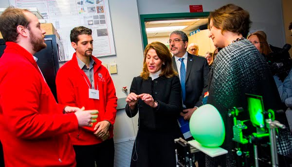 Massachusetts Lt. Gov. Karyn Polito, center, tours a WPI lab with Quinsigamond Community College president Luis G. Pedraja and WPI president Laurie Leshin during an event to announce a $4 million state grant to establish a photonics laboratory at WPI.