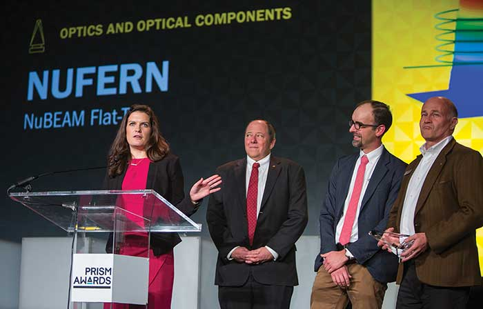 Nufern engineers accept the 2017 Optics and Optical Components award for their NuBEAM Flat-Top fiber technology.