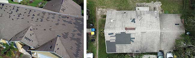 Aerial imaging picks up storm damage on properties for rapid assessment of insurance claims after recent hurricanes in the southern U.S.