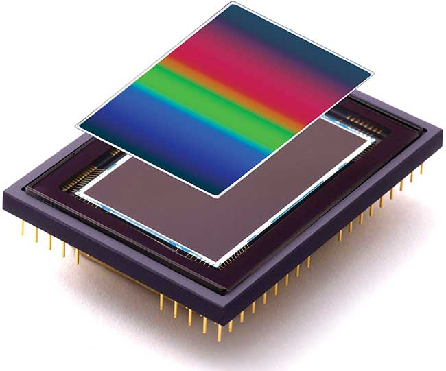 Continuously variable bandpass filter-based hyperspectral imaging detector.